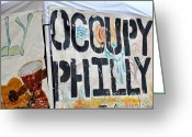 Occupy Greeting Cards - Philadelphia Freedom Greeting Card by Donna Harlev