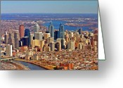 Aerials Greeting Cards - Philadelphia from Schyulkill to Delaware Greeting Card by Duncan Pearson