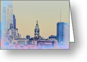 Cityhall Greeting Cards - Philadelphia From South Camden Greeting Card by Bill Cannon