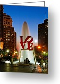 Philadelphia Greeting Cards - Philadelphia LOVE Park Greeting Card by Nick Zelinsky
