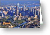 Philadelphia Museum Of Art Greeting Cards - Philadelphia Museum of Art and City Skyline Aerial Panorama Greeting Card by Duncan Pearson