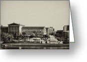 Schuylkill Greeting Cards - Philadelphia Museum of Art and the Fairmount Waterworks From West River Drive in Black and White Greeting Card by Bill Cannon