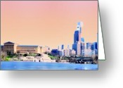 Boathouse Row Greeting Cards - Philadelphia Panoramic Greeting Card by Bill Cannon