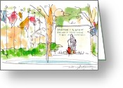 City Scene Drawings Greeting Cards - Philadelphia Park Greeting Card by Marilyn MacGregor