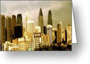 Philadelphia  Drawings Greeting Cards - Philadelphia Skyline - Watercolor Greeting Card by Peter Art Prints Posters Gallery