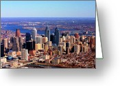 Duncan Pearson Greeting Cards - Philadelphia Skyline 2005 Greeting Card by Duncan Pearson