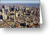 Duncan Pearson Greeting Cards - Philadelphia Skyline Aerial Graduate Hospital Rittenhouse Square Cityscape Greeting Card by Duncan Pearson