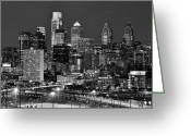 Philadelphia Greeting Cards - Philadelphia Skyline at Night Black and White BW  Greeting Card by Jon Holiday