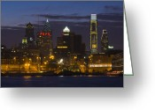 Delaware River Greeting Cards - Philadelphia Skyline at night Greeting Card by Brendan Reals