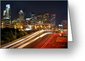 Philadelphia Greeting Cards - Philadelphia Skyline at Night in Color car light trails Greeting Card by Jon Holiday