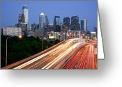 Philadelphia Greeting Cards - Philadelphia Skyline Night Greeting Card by Binh Ly