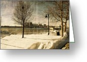 Snow Prints Greeting Cards - Philadelphia SnowScape Greeting Card by Milton Brugada