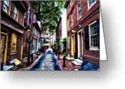 Philly Digital Art Greeting Cards - Philadelphias Elfreths Alley Greeting Card by Bill Cannon