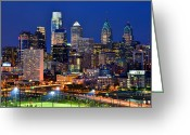 Dusk Greeting Cards - Philadelpia Skyline at Night Greeting Card by Jon Holiday
