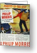 Tightrope Greeting Cards - Philip Morris Cigarette Ad Greeting Card by Granger