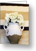 Poster Prints Greeting Cards - Philippian Pottery with Hydrangea Greeting Card by Marsha Heiken