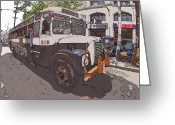 Rolf Bertram Greeting Cards - Philippines 1268 Antique Bus Greeting Card by Rolf Bertram