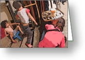 Rolf Bertram Greeting Cards - Philippines 2974 Mom with two Kids in Market Greeting Card by Rolf Bertram