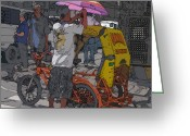 Rolf Bertram Greeting Cards - Philippines 870 Bicycle Taxi Greeting Card by Rolf Bertram