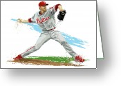 Major League Baseball Greeting Cards - Phillies Ace Roy Halladay Greeting Card by David E Wilkinson
