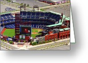 Aerials Greeting Cards - Phillies Citizens Bank Park Philadelphia Greeting Card by Duncan Pearson