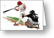 Home Run Greeting Cards - Phillies MVP Chase Utley Greeting Card by David E Wilkinson