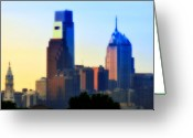 City Hall Digital Art Greeting Cards - Philly Morning Greeting Card by Bill Cannon