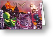 Baseball Paint Greeting Cards - Philly Rapture Greeting Card by Bobby Zeik