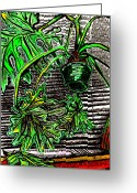 Feeding Drawings Greeting Cards - Philodendron In front Of A Bamboo Blind Greeting Card by Al Goldfarb