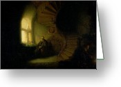 Spiral Staircase Painting Greeting Cards - Philosopher in Meditation Greeting Card by Rembrandt