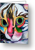 Cat Eyes Greeting Cards - Phoebe Blu Greeting Card by Patti Schermerhorn
