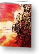 Spirit Rising Greeting Cards - Phoenix 1 Greeting Card by Bonnie Rose Parent
