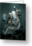 Wildlife Drawings Greeting Cards - Phoenix Goblineer Greeting Card by Paul Davidson