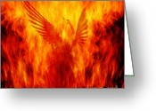 Fire Greeting Cards - Phoenix Rising Greeting Card by Andrew Paranavitana