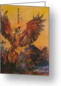 Spirit Rising Greeting Cards - Phoenix Rising Greeting Card by Linda Smith
