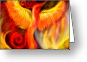 Spirit Rising Greeting Cards - Phoenix Rising Greeting Card by Fools Ink