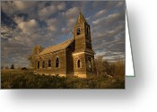 Grasslands Greeting Cards - Photo Of Abandoned Glucksdahl Lutheran Greeting Card by Phil Schermeister