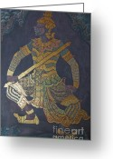 Hall Pyrography Greeting Cards - photo of art painting on Thai temple wall Greeting Card by Komkrit Muanchan