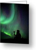 Aurora Borealis Greeting Cards - Photographer Catching Beautiful Light Greeting Card by Lars Mathisen Photography