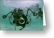 Five People Greeting Cards - Photographer With Camera Underwater Greeting Card by Nicolas Reynard