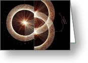 Circle Greeting Cards - Photon Double Slit Test Hand Drawn Greeting Card by Jason Padgett