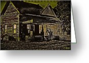 Abandoned Houses Digital Art Greeting Cards - Photos in an Attic - Homestead Greeting Card by Leslie Revels Andrews