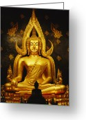 Asian Architecture And Art Greeting Cards - Phra Phuttha Chinnarat Buddha Greeting Card by Martin Gray