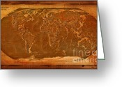 Antique Map Digital Art Greeting Cards - Physical Map of the World Antique Style Greeting Card by Teodora Atanasova