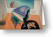Fun Pastels Greeting Cards - Piano By The Bay Greeting Card by Rod  Grier