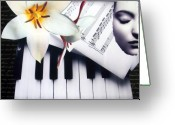 Decorative Art Pyrography Greeting Cards - Piano Concert Greeting Card by Irena Orlov