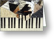 Black And White Tapestries - Textiles Greeting Cards - Piano Concerto Greeting Card by Loretta Alvarado