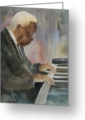 Musicians Glass Greeting Cards - Piano Jazz Greeting Card by Arline Wagner