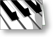 Musical Greeting Cards - Piano Keyboard Greeting Card by Michael Tompsett