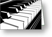 Rock And Roll Glass Greeting Cards - Piano Keyboard no2 Greeting Card by Michael Tompsett